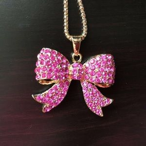 Pink Crystal Bow Pendant Necklace